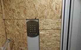 Обшивка лифта в доме по адресу ул. Строителей, 9